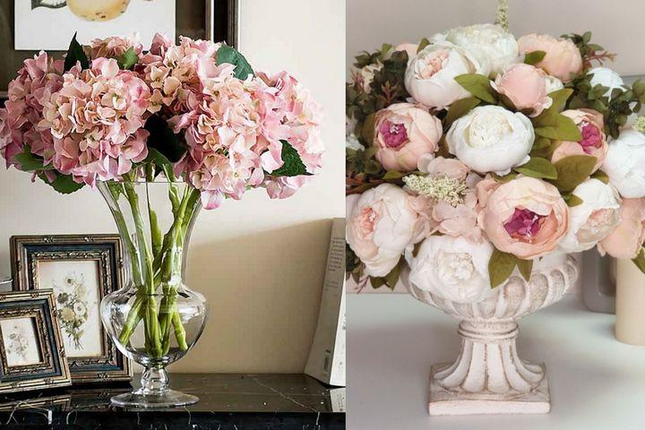 Букеты из одного вида цветов в классических вазах