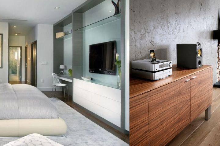 Аудиотехника и ТВ в спальне