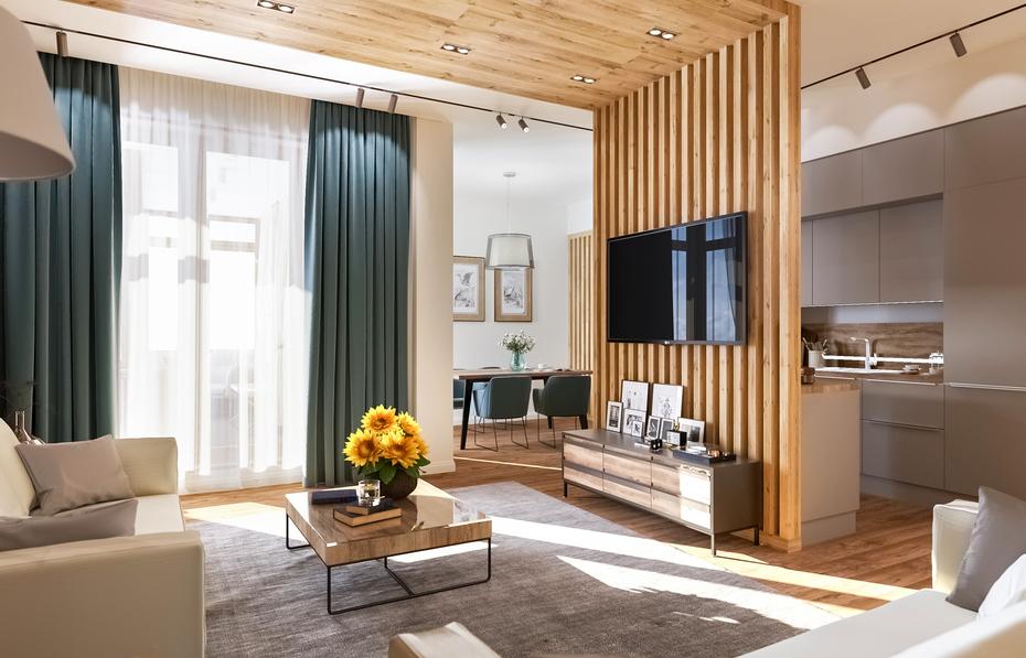 Интерьер гостиной по проекту Remelle на Вязовой улице