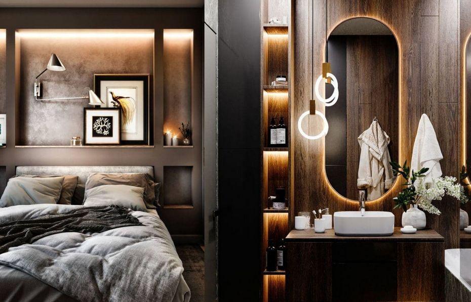 Подсветка зеркала и ниши с хранением