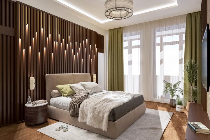 Интерьер спальни по авторскому проекту Remelle на Вязовой улице
