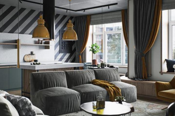 Сочетание серой мебели и желтых светильников