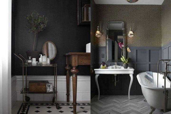 Темная отделка и винтажная мебель в ванной
