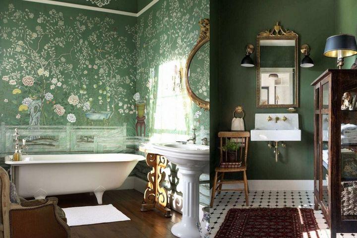 Оформление ванной в зеленом цвете