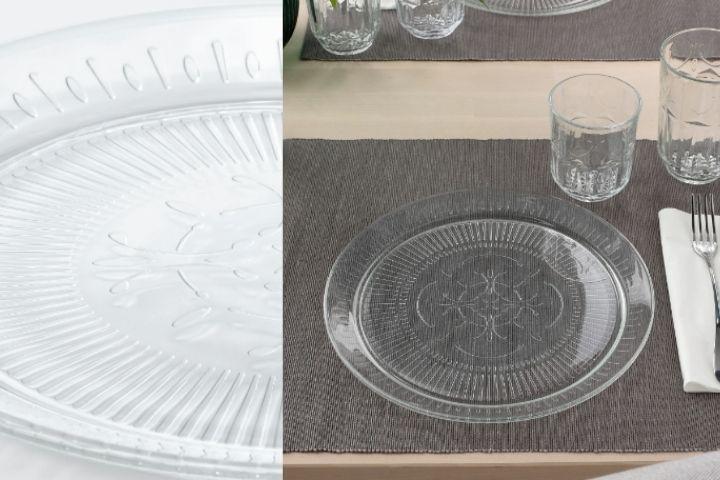Прозрачная тарелка с текстурным рисунком