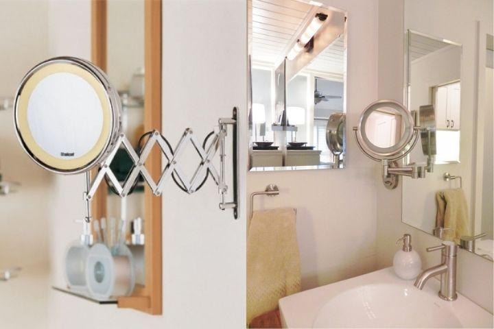 Дополнительное зеркало с увеличением в ванной