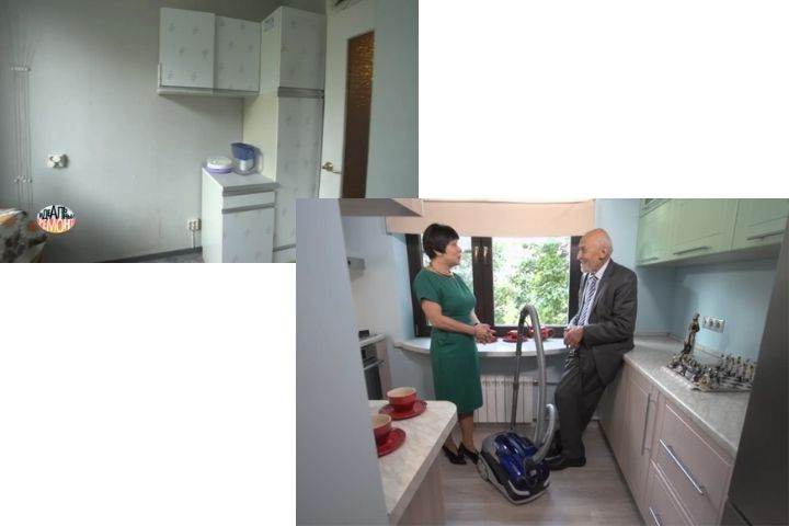 Кухня с обратной стороны до и после