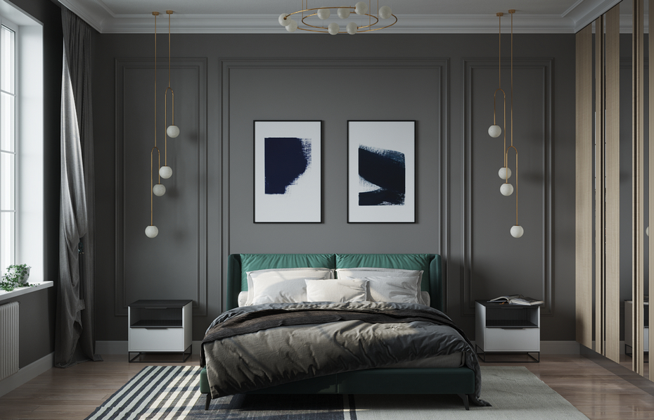 Спальня в серых тонах с натуральными акцентами