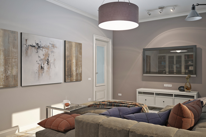 Гостиная с серыми стенами