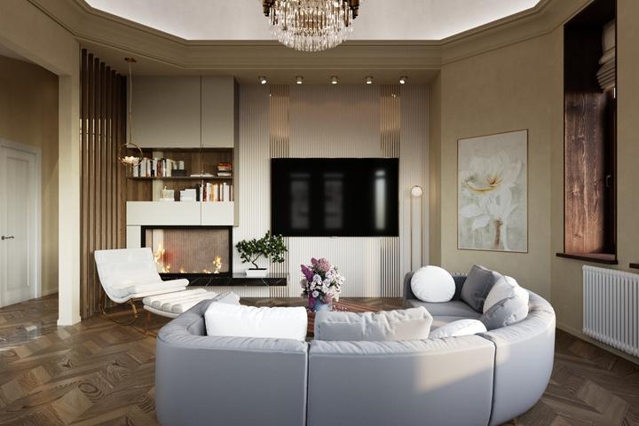 ТВ на акцентной стене в гостиной