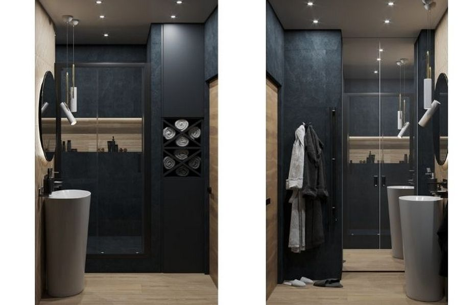 Маленькая ванная комната с постирочной