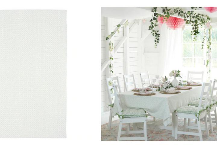 Скатерть в белом цвете с небольшим принтом