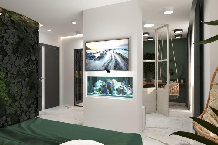Встроенный в колонну аквариум и ТВ