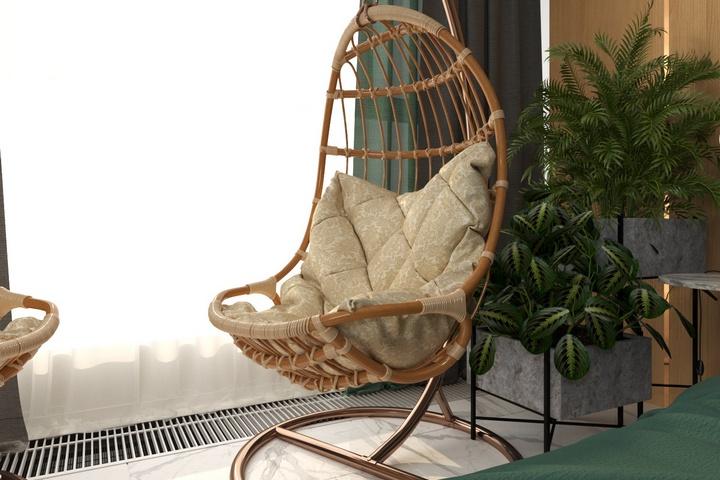 Садовое кресло в зоне отдыха спальни у окна