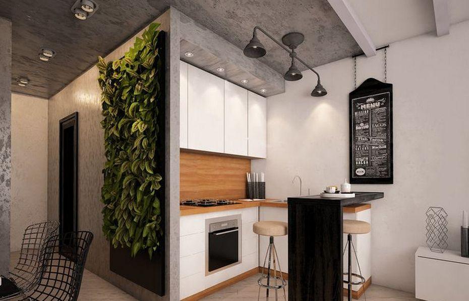 Маленькая кухня в студии в стиле Лофт