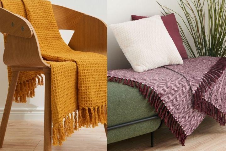 Цветной плед в гостиную или спальню