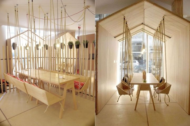 Подвесные скамьи и стулья в домике