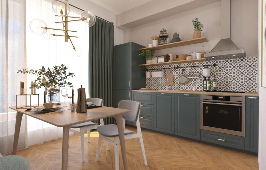 Кухня в скандинавском стиле с минимальным количеством мебели