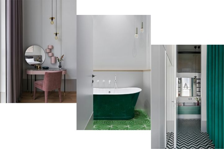 Изумрудная ванна, розовый столик для макияжа