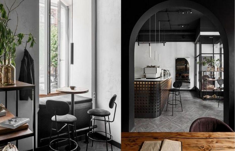 Кофейня в сочетании стилей сканди и лофт