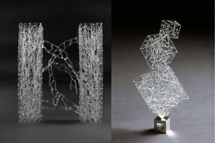 Скульптуры с геометрией из стекла