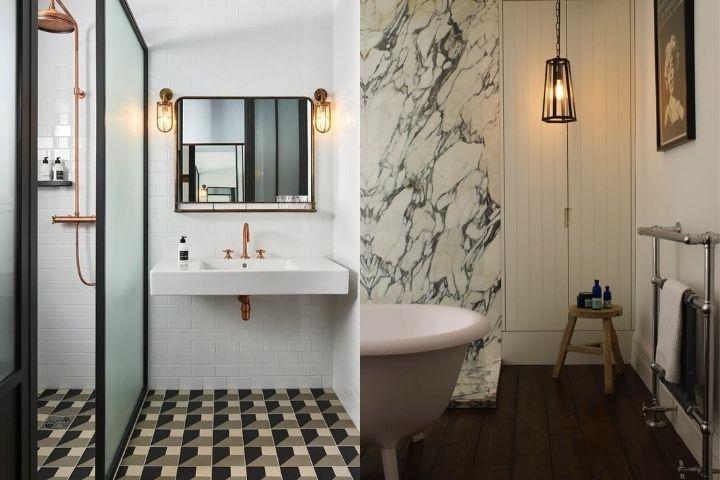 Светильники в индустриальном стиле в ванной комнате