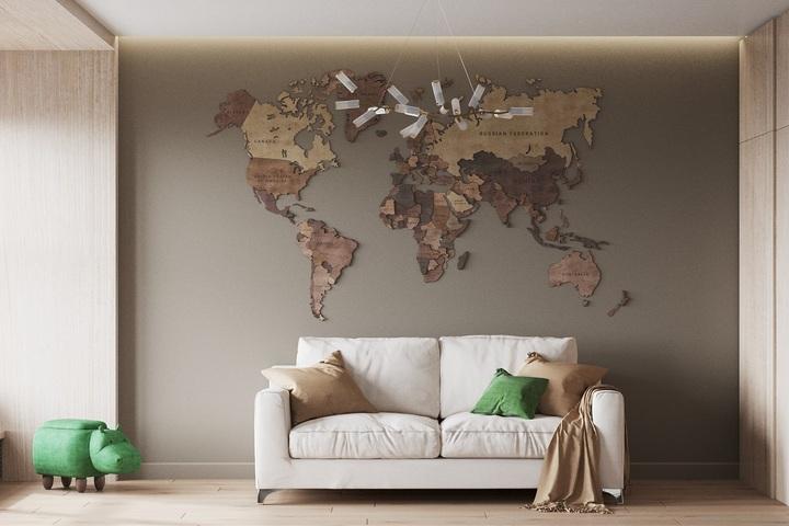 Карта мира из дерева - объемный декор