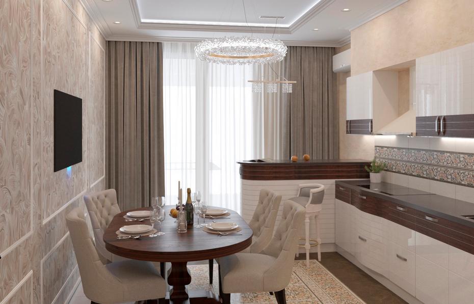 Кухня с барной зоной у окна