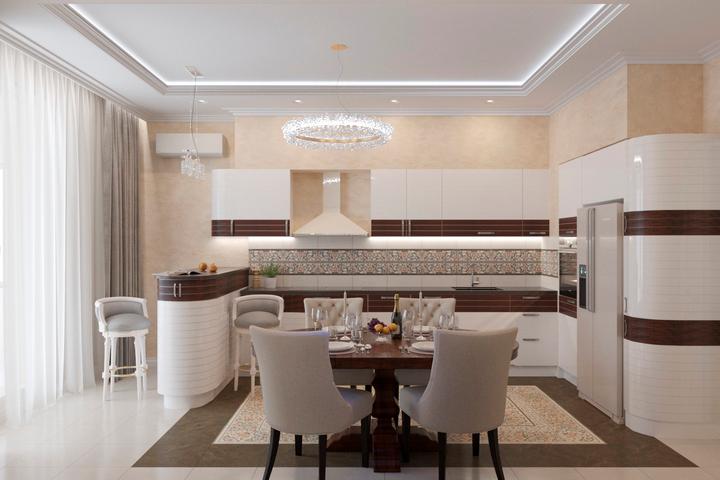 Кухонный гарнитур с округленными углами