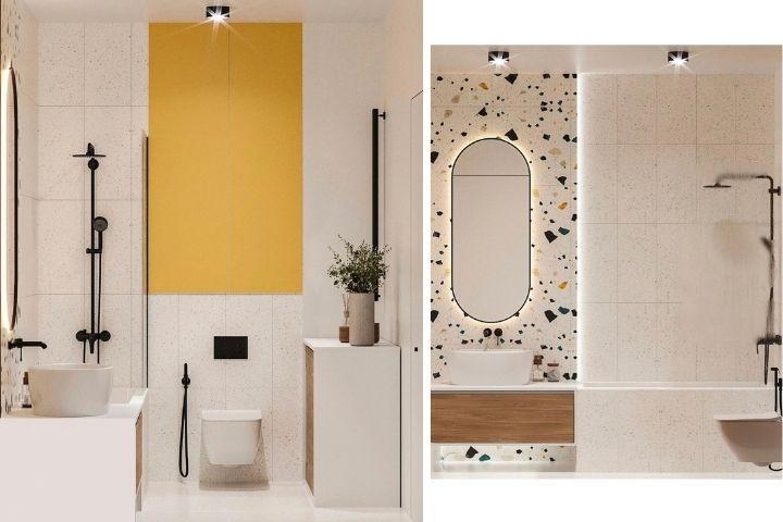 Ванная комната с яркими деталями