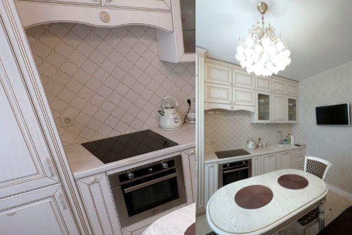 Кухонный фартук и гарнитур в классическом стиле