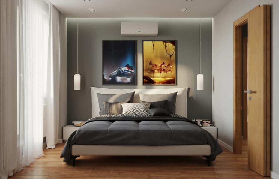 Спальня с двуцветной отделкой стен