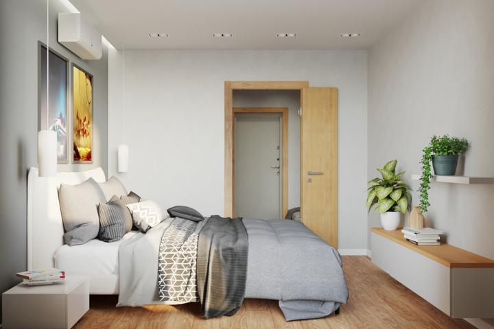Небольшая спальня с необходимой мебелью и цветовой коррекцией