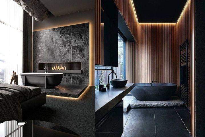 Ванна на подиуме в стильных интерьерах
