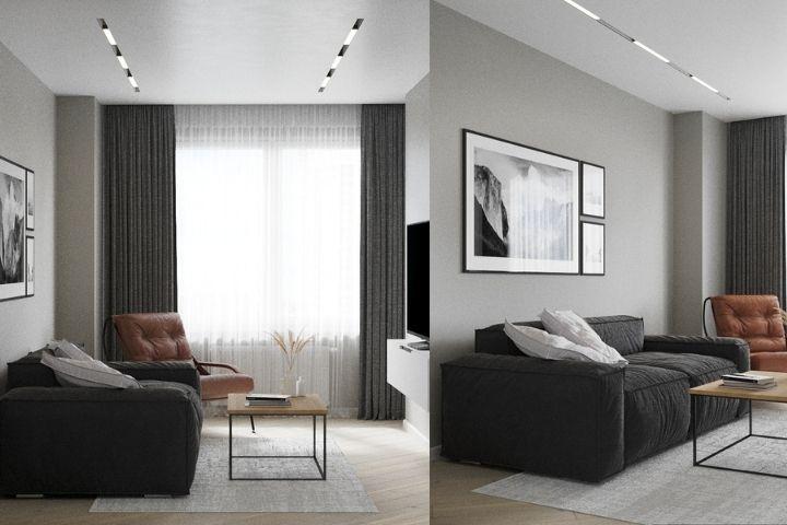 Черный диван и карамельное кресло в гостиной