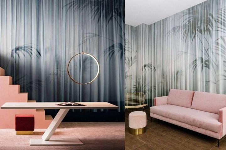 Сочетание обоев с розовой мебелью и необычными предметами