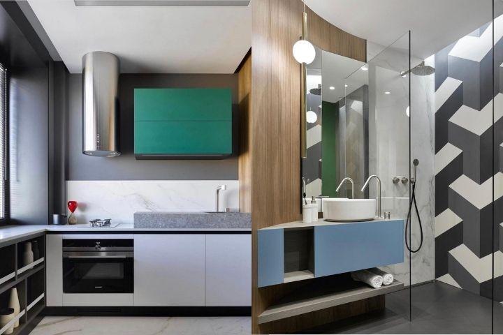 Кухня и ванная комната с яркими акцентами