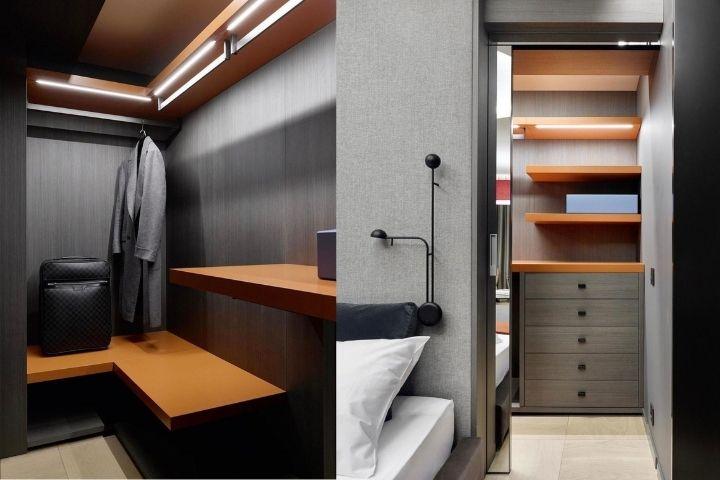 Гардеробная комната с отделениями для хранения вещей