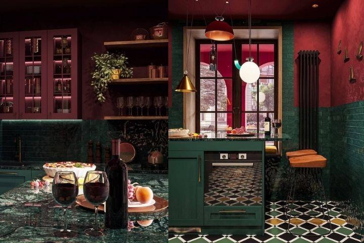 Кухня в изумрудных и сапфировых оттенках