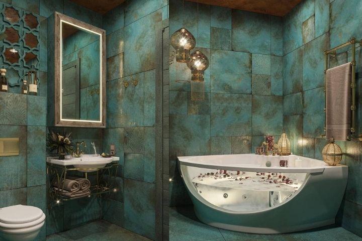 Ванная комната с фактурной отделкой и современными деталями