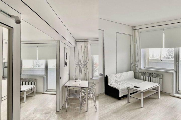 Кухня и гостиная в нарисованной квартире