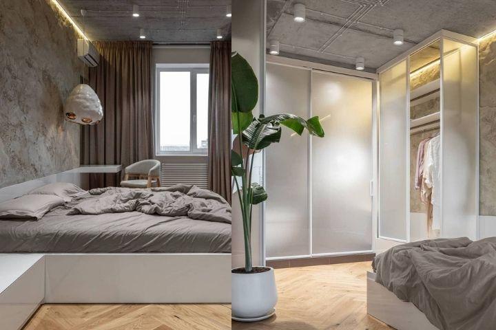 Спальня с фактурной стеной и гардеробная зона