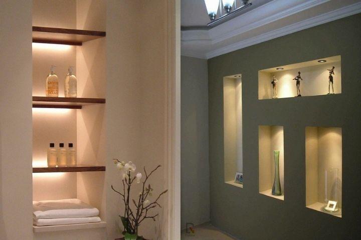 Ниша с полками в ванной, справа - композиция для декора