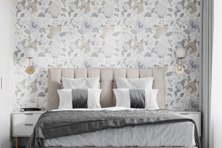 Акцентная стена с цветочным принтом в спальне