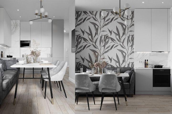 Серо-белое оформление кухни-столовой