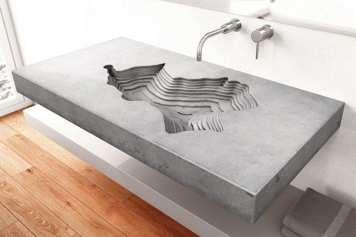 Раковина и столешница из бетона в необычной форме