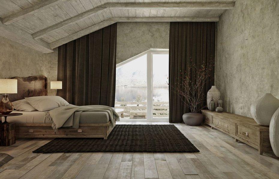 Спальня с видовым окном в стиле ваби-саби