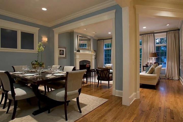 Арки между гостиной, столовой и кухней