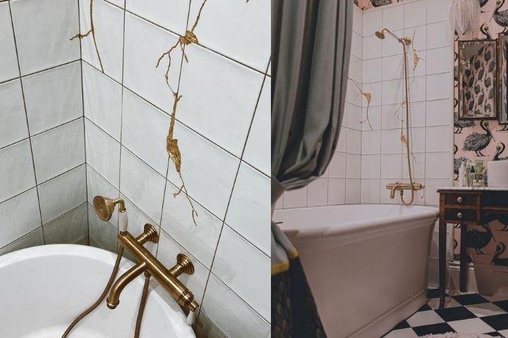 Отделка ванной комнаты в технике Кинцуги