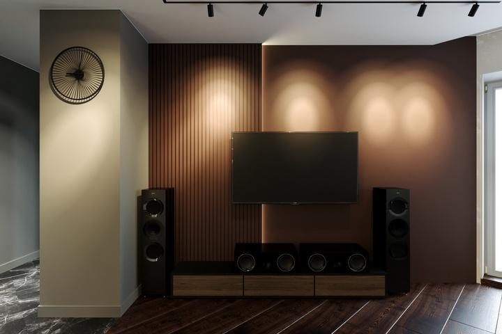 Зона ТВ с темной стеной шоколадного цвета